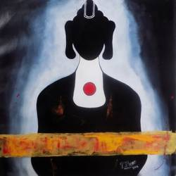 buddha in black, 23 x 22 inch, paresh more,23x22inch,canvas,paintings,acrylic color,GAL099746526