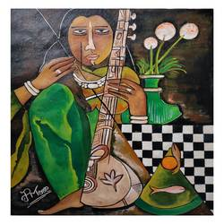 sitar player, 15 x 19 inch, paresh more,15x19inch,canvas,paintings,acrylic color,GAL099746528