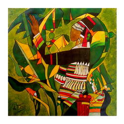 lady under bushes, 20 x 20 inch, paresh more,20x20inch,canvas,abstract paintings,figurative paintings,acrylic color,GAL099746529