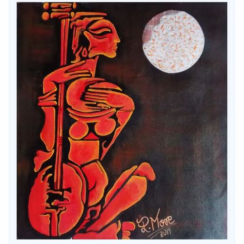 sitar vadak, 20 x 22 inch, paresh more,20x22inch,canvas,paintings,modern art paintings,acrylic color,GAL099746531