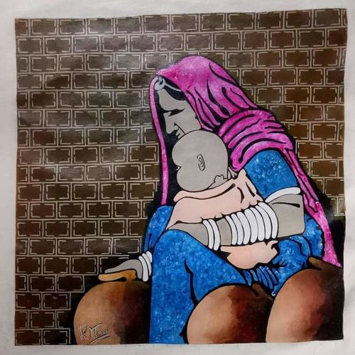 banjare 2, 23 x 23 inch, paresh more,23x23inch,canvas,paintings,figurative paintings,acrylic color,GAL099746532