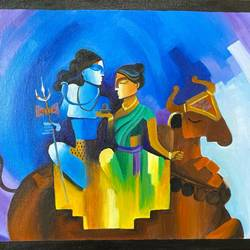 shivan parvathi painting, 18 x 14 inch, shanvi karthi,18x14inch,canvas board,paintings,abstract paintings,religious paintings,lord shiva paintings,paintings for dining room,paintings for living room,paintings for bedroom,acrylic color,GAL03135946535