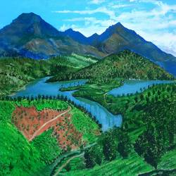 munnar , the dream hills, 24 x 16 inch, maheswaran alagarswamy,24x16inch,canvas,paintings,nature paintings   scenery paintings,paintings for dining room,paintings for living room,paintings for bedroom,paintings for office,paintings for hotel,paintings for hospital,acrylic color,GAL03347746541