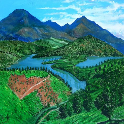 munnar , the dream hills, 24 x 16 inch, maheswaran alagarswamy,24x16inch,canvas,paintings,nature paintings | scenery paintings,paintings for dining room,paintings for living room,paintings for bedroom,paintings for office,paintings for hotel,paintings for hospital,acrylic color,GAL03347746541