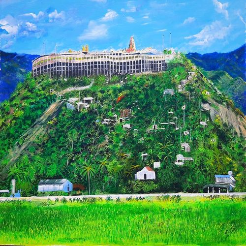 palani hill temple , 28 x 22 inch, maheswaran alagarswamy,28x22inch,hardboard,paintings,abstract paintings,nature paintings | scenery paintings,paintings for dining room,paintings for living room,paintings for bedroom,paintings for office,paintings for hotel,paintings for school,acrylic color,GAL03347746542