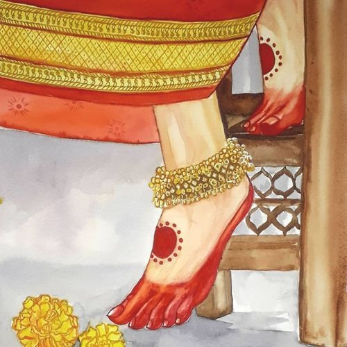dulhan, 12 x 17 inch, akshata kasbe,12x17inch,canson paper,paintings,figurative paintings,portrait paintings,paintings for living room,paintings for bedroom,paintings for office,paintings for hotel,watercolor,GAL03348246549
