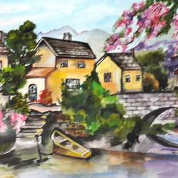 living amidst nature, 14 x 12 inch, divya s,cityscape paintings,paintings for living room,cartridge paper,watercolor,14x12inch,GAL016434655