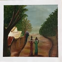 village life art, 16 x 12 inch, tabassum darwajkar,16x12inch,fabriano sheet,paintings,abstract paintings,paintings for dining room,paintings for living room,paintings for office,paintings for hotel,paintings for school,paintings for hospital,acrylic color,GAL03343546559