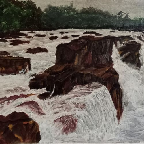 panimur water fall, 14 x 18 inch, paramita goswami,14x18inch,canvas,paintings,landscape paintings,paintings for dining room,paintings for living room,paintings for bedroom,paintings for office,paintings for kids room,paintings for hotel,acrylic color,GAL03271846574