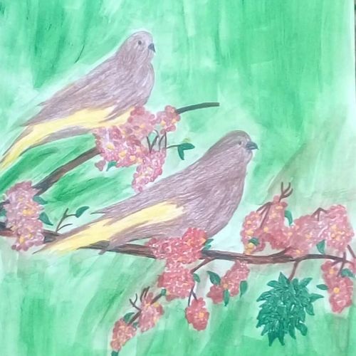 couple bird, 9 x 11 inch, mrs. kalyani lahon,wildlife paintings,paintings for living room,animal paintings,paper,watercolor,9x11inch,GAL06574658
