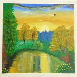 colourful nature scene, 16 x 12 inch, tabassum darwajkar,16x12inch,fabriano sheet,paintings,landscape paintings,nature paintings | scenery paintings,paintings for living room,paintings for office,paintings for hotel,paintings for school,acrylic color,GAL03343546580
