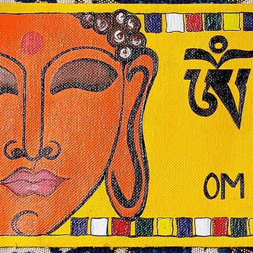 tibetan buddhism mantra painting, 15 x 5 inch, vartika dwivedi,15x5inch,canvas,paintings,buddha paintings,figurative paintings,religious paintings,acrylic color,GAL03352246586