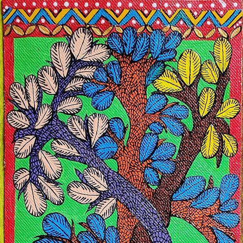 tree of life gond painting, 15 x 5 inch, vartika dwivedi,15x5inch,canvas,paintings,abstract paintings,folk art paintings,landscape paintings,religious paintings,gond painting.,paintings for dining room,paintings for living room,paintings for bedroom,paintings for office,paintings for kids room,paintings for hotel,paintings for kitchen,acrylic color,GAL03352246587