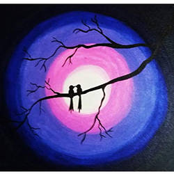 two birds in a moonlit night, 18 x 14 inch, payel baral,18x14inch,canvas,paintings,abstract paintings,modern art paintings,acrylic color,GAL03352846594