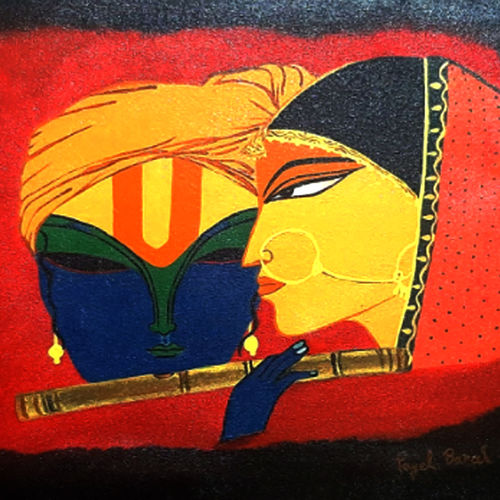 radha krishna painting, 18 x 14 inch, payel baral,18x14inch,canvas,paintings,acrylic color,GAL03352846595