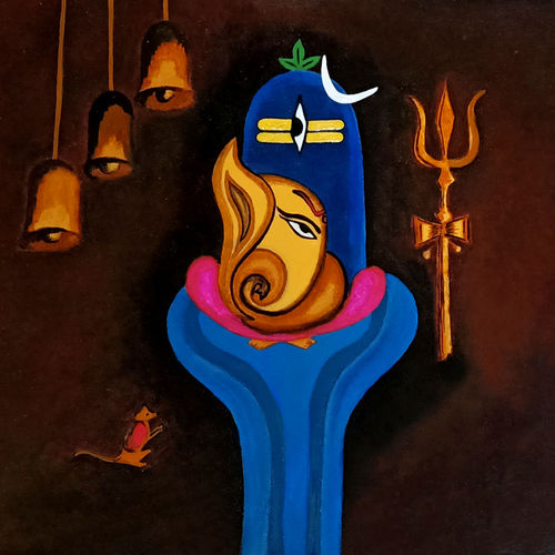 lord siva & ganesa painting  , 18 x 14 inch, payel baral,18x14inch,canvas,paintings,modern art paintings,religious paintings,acrylic color,GAL03352846596