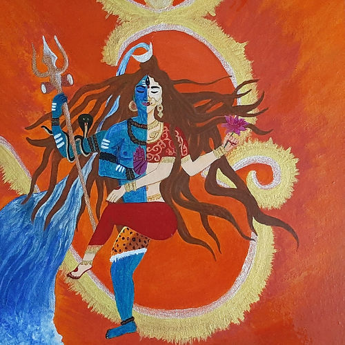 siv sakti ardhanarishwar painting , 12 x 12 inch, payel baral,12x12inch,canvas,paintings,religious paintings,acrylic color,GAL03352846597