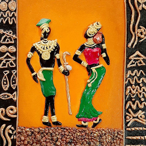 african tribal 3d mural art , 10 x 12 inch, payel baral,10x12inch,canvas,handicrafts,sculptures,acrylic color,GAL03352846598