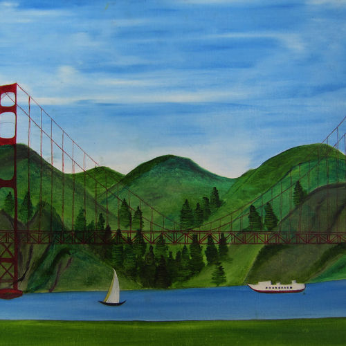 golden gate, 22 x 18 inch, archana singh,landscape paintings,paintings for dining room,canvas,oil,22x18inch,GAL011724660
