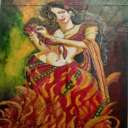 fire beauty, 10 x 17 inch, ravi krishnan,10x17inch,thick paper,paintings,conceptual paintings,paintings for bedroom,oil color,GAL03316446601