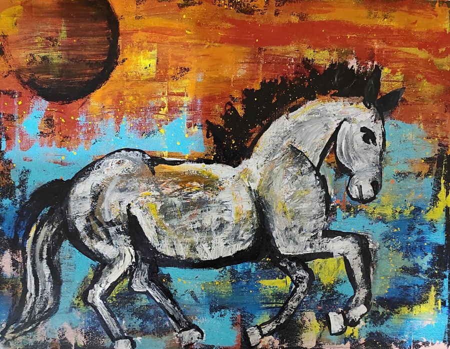 Abstract horse horse in a sunset