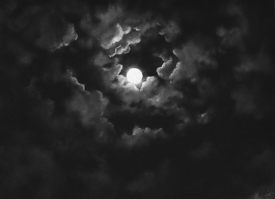 Hide and seek moon and clouds