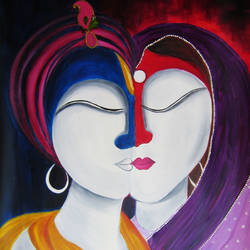 radhe krishna, 14 x 18 inch, archana singh,radha krishna paintings,paintings for living room,religious paintings,paintings for bedroom,thick paper,oil,14x18inch,GAL011724661,radha,krishna,lordkrishna,love,peace,radhakrishna