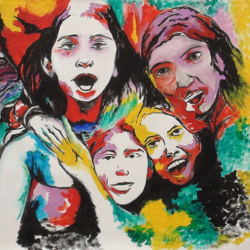 friends, 36 x 26 inch, pankaj malukar,36x26inch,canvas,paintings,abstract paintings,figurative paintings,modern art paintings,portrait paintings,abstract expressionism paintings,art deco paintings,expressionism paintings,illustration paintings,pop art paintings,contemporary paintings,love paintings,children paintings,paintings for dining room,paintings for living room,paintings for bedroom,paintings for office,paintings for kids room,paintings for hotel,paintings for kitchen,paintings for school,paintings for hospital,oil color,GAL03341446611