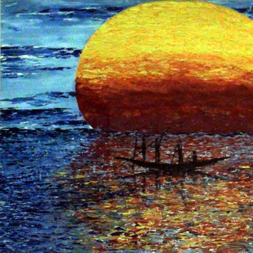 sunset, sea and boatmen, 29 x 20 inch, pankaj malukar,29x20inch,canvas,paintings,landscape paintings,modern art paintings,still life paintings,nature paintings | scenery paintings,art deco paintings,impressionist paintings,contemporary paintings,paintings for dining room,paintings for living room,paintings for bedroom,paintings for office,paintings for bathroom,paintings for kids room,paintings for hotel,paintings for kitchen,paintings for school,paintings for hospital,oil color,GAL03341446616