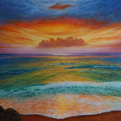 sunset at sea beach, 29 x 20 inch, goutami mishra,landscape paintings,paintings for living room,canvas,oil,29x20inch,GAL04654662