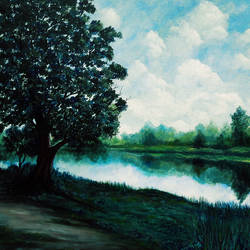 serenity, 48 x 36 inch, seby augustine,48x36inch,canvas,paintings,landscape paintings,nature paintings | scenery paintings,paintings for dining room,paintings for living room,paintings for bedroom,paintings for office,paintings for bathroom,paintings for kids room,paintings for hotel,paintings for kitchen,paintings for school,paintings for hospital,acrylic color,GAL015046623