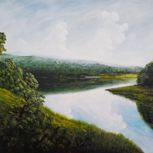 the morning light, 72 x 48 inch, seby augustine,72x48inch,canvas,paintings,acrylic color,GAL015046626