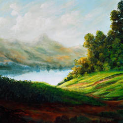 the morning light, 30 x 24 inch, seby augustine,30x24inch,canvas,paintings,landscape paintings,nature paintings | scenery paintings,paintings for dining room,paintings for living room,paintings for bedroom,paintings for office,paintings for bathroom,paintings for kids room,paintings for hotel,paintings for kitchen,paintings for school,paintings for hospital,acrylic color,GAL015046629