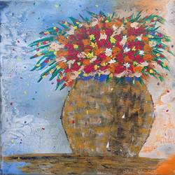 colorful flowers, 10 x 12 inch, tabassum darwajkar,10x12inch,canvas,paintings,abstract paintings,flower paintings,paintings for dining room,paintings for living room,paintings for office,paintings for hotel,paintings for hospital,acrylic color,GAL03343546634