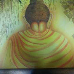 calmness in meditation, 27 x 39 inch, shalu maini,27x39inch,canvas,paintings,buddha paintings,paintings for living room,paintings for hotel,oil color,GAL03350546641