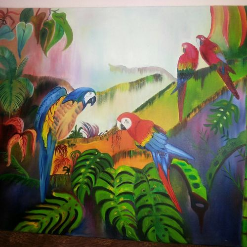 birds of paradise, 27 x 39 inch, shalu maini,27x39inch,canvas,paintings,wildlife paintings,paintings for dining room,paintings for living room,paintings for bedroom,paintings for office,oil color,GAL03350546644