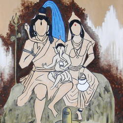 lord shiva and family , 26 x 30 inch, pankaj malukar,26x30inch,canvas,paintings,abstract paintings,figurative paintings,folk art paintings,modern art paintings,religious paintings,abstract expressionism paintings,art deco paintings,cubism paintings,expressionism paintings,illustration paintings,minimalist paintings,contemporary paintings,lord shiva paintings,paintings for dining room,paintings for living room,paintings for bedroom,paintings for office,paintings for kids room,paintings for hotel,paintings for kitchen,paintings for school,paintings for hospital,oil color,GAL03341446646