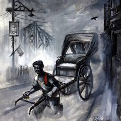 old kolkata, 20 x 24 inch, soumen das,20x24inch,canvas,paintings,abstract paintings,acrylic color,GAL02253146651