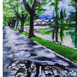 lakeland, 18 x 24 inch, rajinder koul,18x24inch,canvas,paintings,cityscape paintings,nature paintings | scenery paintings,photorealism paintings,realistic paintings,paintings for dining room,paintings for living room,paintings for bedroom,paintings for office,paintings for bathroom,paintings for hotel,paintings for kitchen,paintings for school,paintings for hospital,acrylic color,GAL01404546656