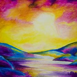 the romantic sunset, 16 x 11 inch, kirthana ravikumar,nature paintings,paintings for living room,ivory sheet,pastel color,16x11inch,GAL016534666Nature,environment,Beauty,scenery,greenery