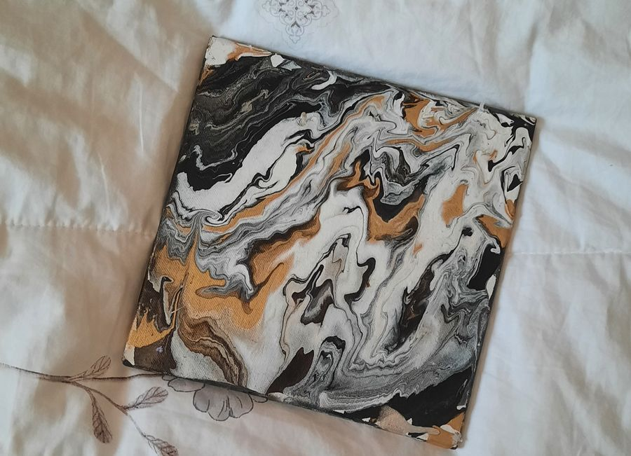 Modern art acrylic pour painting