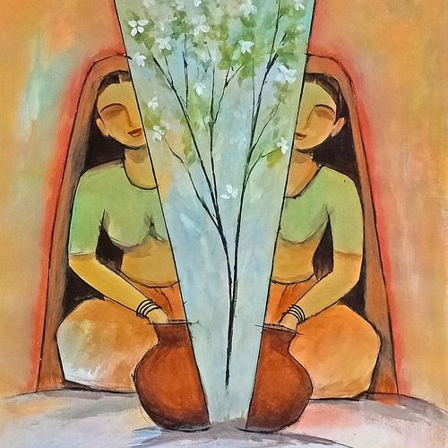 women and flowers, 12 x 15 inch, a.b.  kaser,12x15inch,thick paper,paintings,abstract paintings,figurative paintings,flower paintings,art deco paintings,expressionism paintings,paintings for dining room,paintings for living room,paintings for bedroom,paintings for office,paintings for hotel,paintings for kitchen,acrylic color,GAL063646674