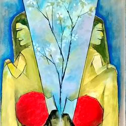 women and flowers, 12 x 15 inch, a.b.  kaser,12x15inch,thick paper,paintings,abstract paintings,figurative paintings,flower paintings,art deco paintings,expressionism paintings,paintings for dining room,paintings for living room,paintings for bedroom,paintings for office,paintings for hotel,paintings for kitchen,acrylic color,GAL063646675