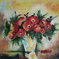 florals, 12 x 10 inch, nidhi gupta,flower paintings,paintings for office,paintings for living room,thick paper,poster color,12x10inch,GAL0248467