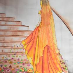 spring bride water color, 22 x 28 inch, meenal kankariya,conceptual paintings,paintings for living room,handmade paper,watercolor,22x28inch,GAL016494670