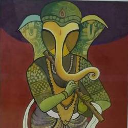 ganesh playing musical instruments, 12 x 18 inch, deepak agrawal,figurative paintings,paintings for office,ganesha paintings,paper,poster color,12x18inch,GAL016574671,vinayak,ekadanta,ganpati,lambodar,peace,devotion,religious,lord ganesha,lordganpati,ganpati,ganesha,lord ganesh,elephant god,religious,ganpati bappa morya,flute,melody