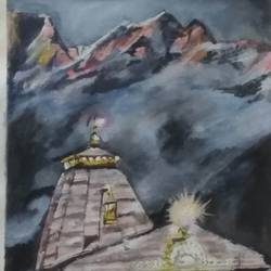 shiva's abode, 18 x 24 inch, rajinder koul,18x24inch,canvas,paintings,landscape paintings,religious paintings,nature paintings | scenery paintings,photorealism paintings,realistic paintings,lord shiva paintings,paintings for dining room,paintings for living room,paintings for bedroom,paintings for office,paintings for kids room,paintings for hotel,paintings for school,paintings for hospital,acrylic color,GAL01404546711