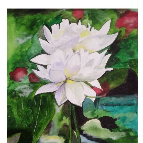 divine lotus, 18 x 24 inch, rajinder koul,18x24inch,canvas,paintings,abstract paintings,wildlife paintings,flower paintings,landscape paintings,still life paintings,illustration paintings,photorealism paintings,contemporary paintings,paintings for dining room,paintings for living room,paintings for bedroom,paintings for office,paintings for bathroom,paintings for kids room,paintings for hotel,paintings for kitchen,paintings for school,paintings for hospital,acrylic color,GAL01404546713