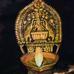deepam, 20 x 28 inch, nayana b.c,20x28inch,canvas,paintings,abstract paintings,folk art paintings,religious paintings,photorealism paintings,realistic paintings,paintings for living room,paintings for office,paintings for hotel,paintings for school,paintings for hospital,acrylic color,GAL02908246715