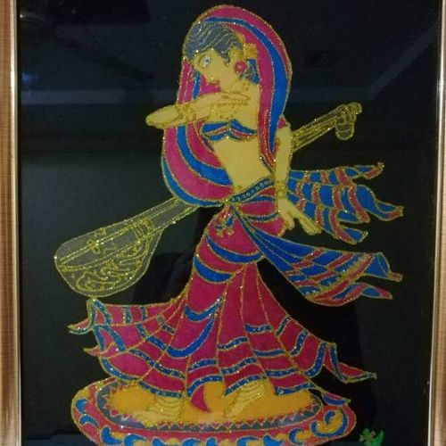 fairy lady (apsara) dancing (veena), 11 x 15 inch, deepak agrawal,folk art paintings,paintings for living room,acrylic glass,mixed media,11x15inch,GAL016574672